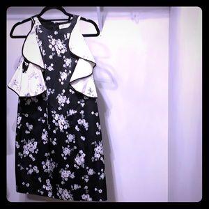 Amir silk floral B&W dress. Cold shoulder detail